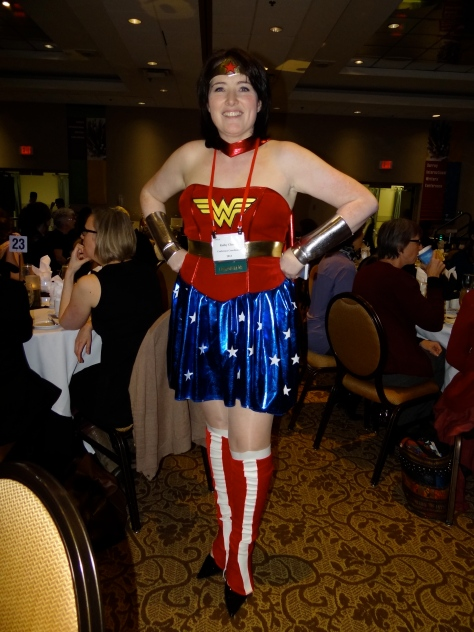 SiWC Coordinator Kathy Chung as Wonder Woman at Friday evening's Heros & Villains Theme Dinner