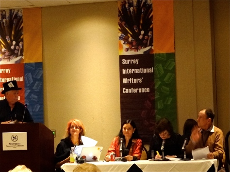 "The sixth annual ""Shock Theatre"" at SiWC: (L->R) authors Michael Slade, kc dyer, Diana Gabaldon, Anne Perry, Jack Whyte."